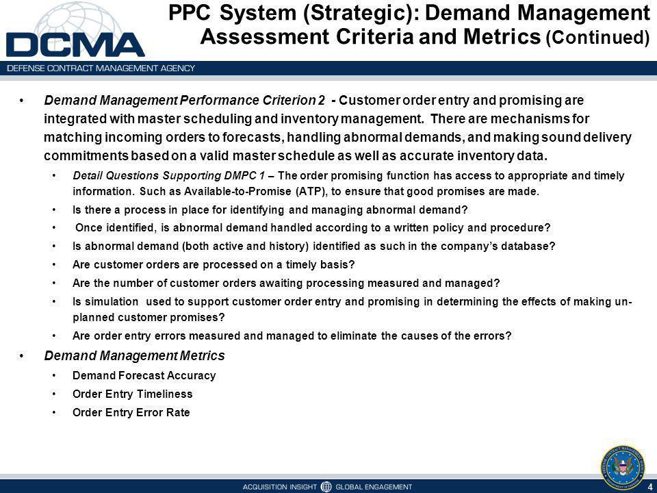 PPC System (Strategic): Demand Management Assessment Criteria and Metrics (Continued)