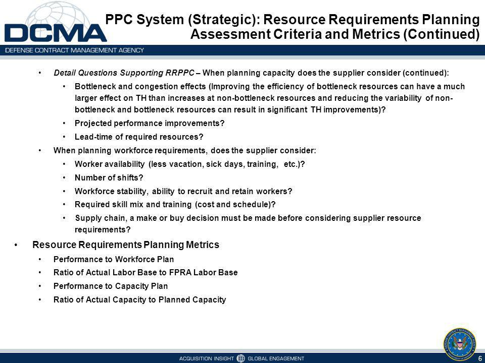 PPC System (Strategic): Resource Requirements Planning Assessment Criteria and Metrics (Continued)