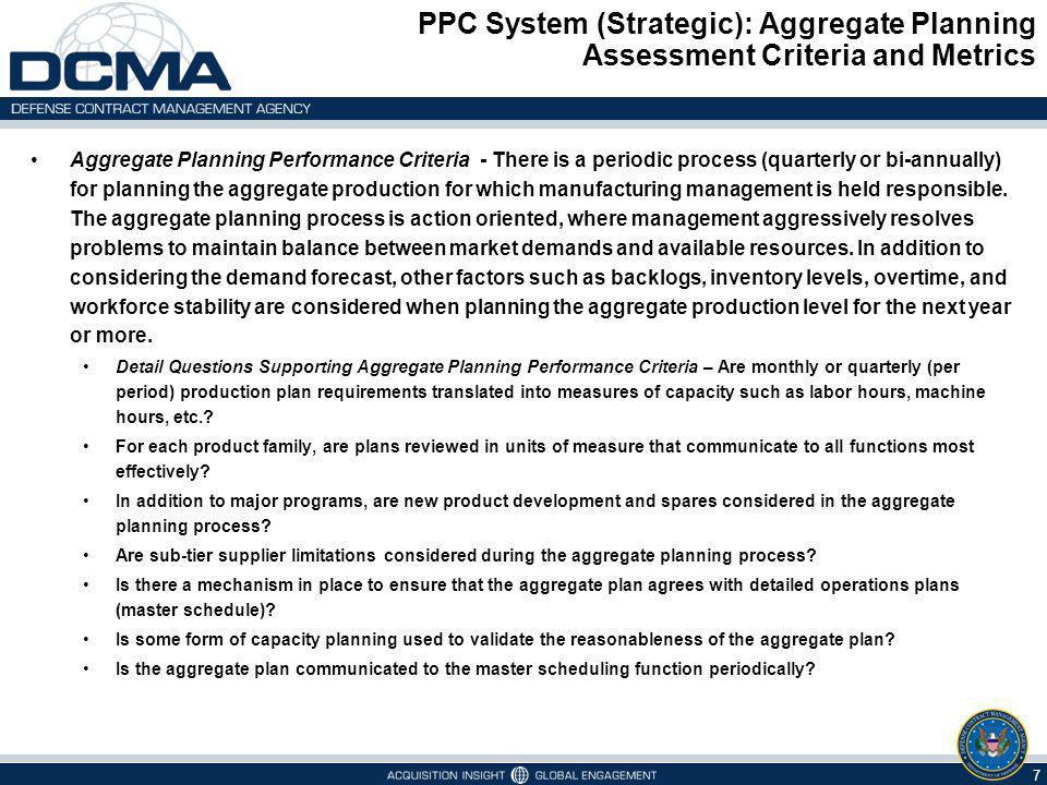 PPC System (Strategic): Aggregate Planning Assessment Criteria and Metrics