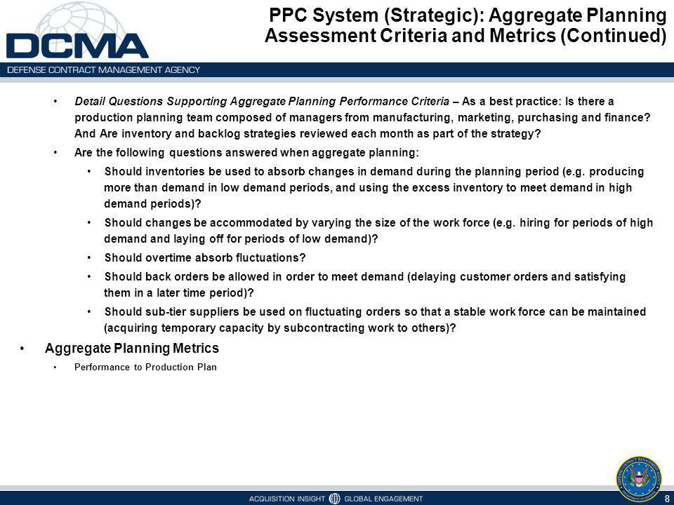 PPC System (Strategic): Aggregate Planning Assessment Criteria and Metrics (Continued)