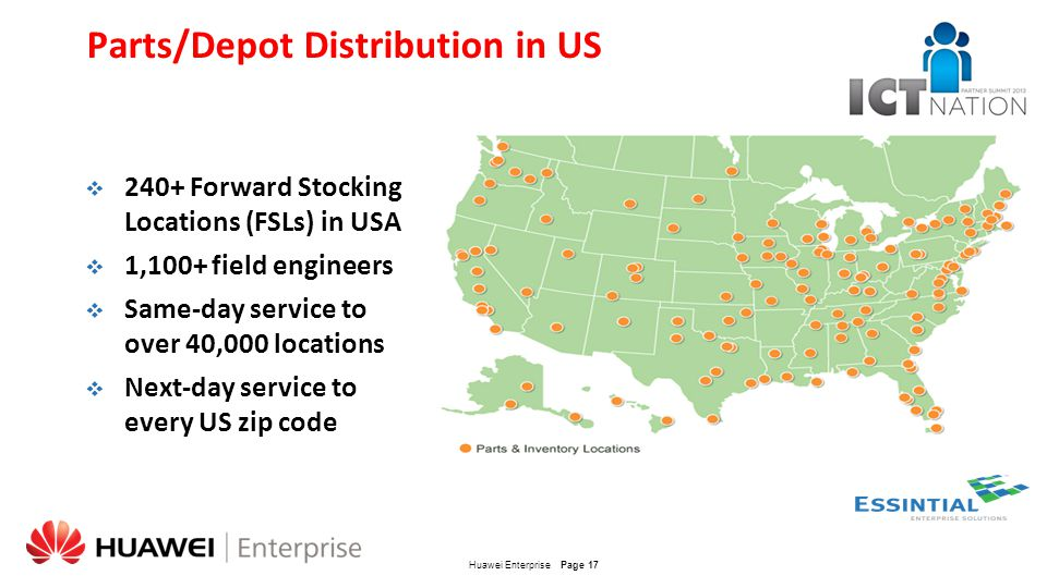 Parts/Depot Distribution in US