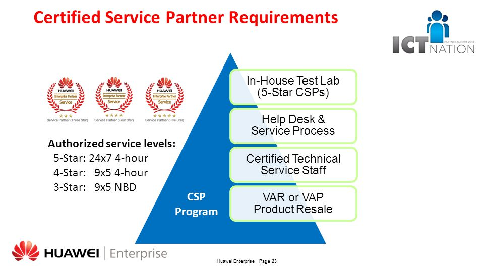 Certified Service Partner Requirements