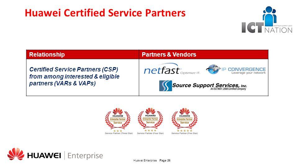 Huawei Certified Service Partners