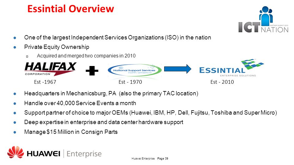 Essintial Overview One of the largest Independent Services Organizations (ISO) in the nation. Private Equity Ownership.