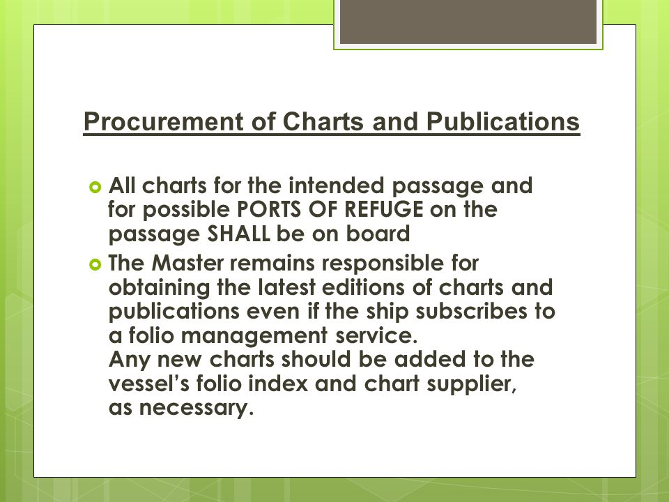 Procurement of Charts and Publications