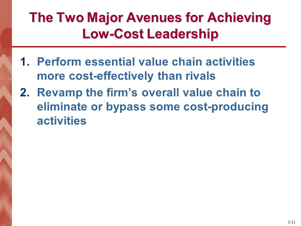 The Two Major Avenues for Achieving Low-Cost Leadership