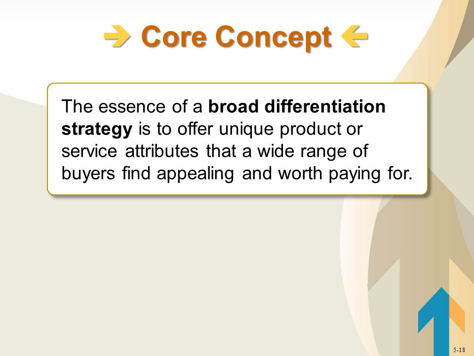 The essence of a broad differentiation strategy is to offer unique product or service attributes that a wide range of buyers find appealing and worth paying for.