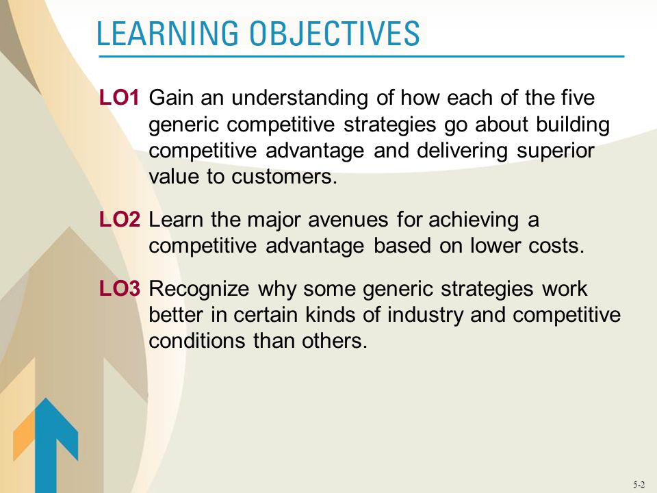 LO1 Gain an understanding of how each of the five generic competitive strategies go about building competitive advantage and delivering superior value to customers.