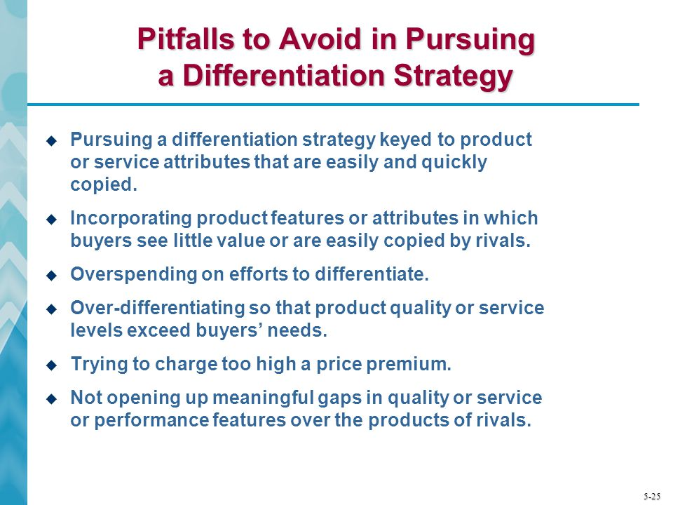 Pitfalls to Avoid in Pursuing a Differentiation Strategy