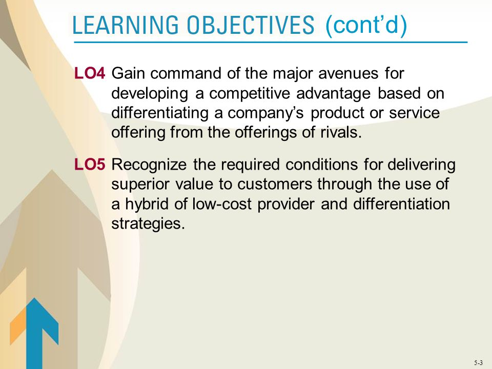LO4 Gain command of the major avenues for developing a competitive advantage based on differentiating a company's product or service offering from the offerings of rivals.