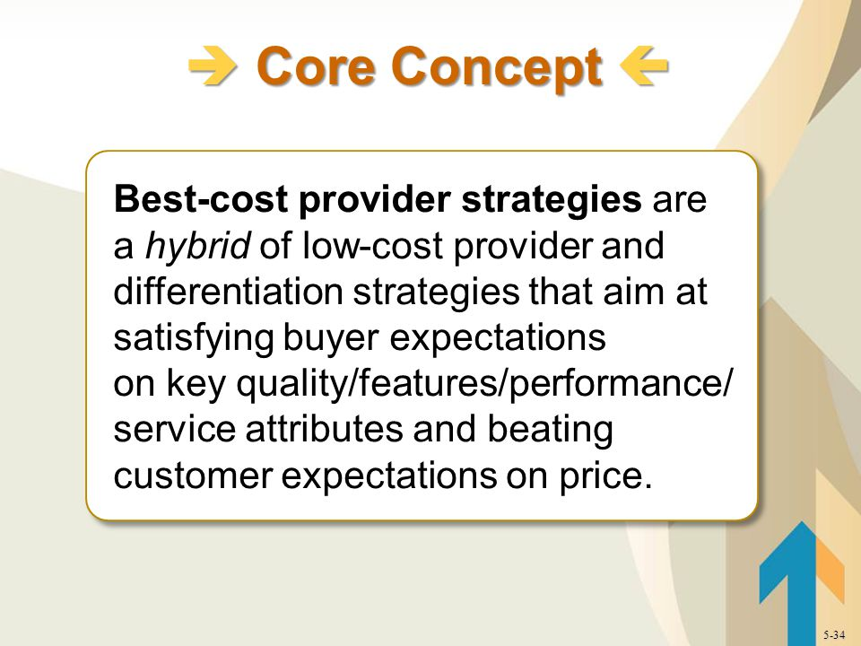 Best-cost provider strategies are a hybrid of low-cost provider and differentiation strategies that aim at satisfying buyer expectations