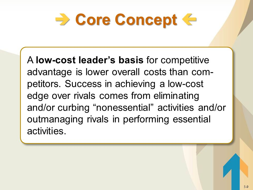 A low-cost leader's basis for competitive advantage is lower overall costs than com- petitors.