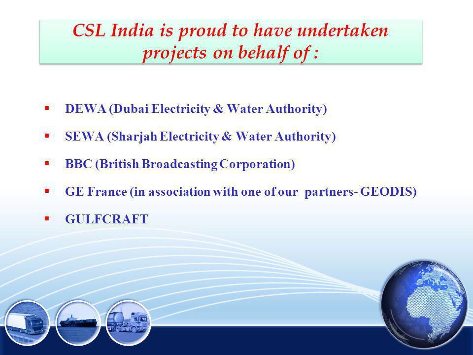 CSL India is proud to have undertaken projects on behalf of :