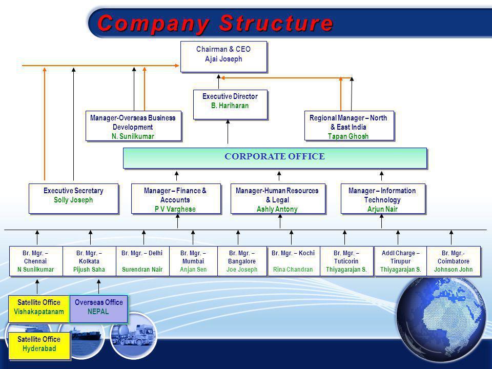 Company Structure CORPORATE OFFICE Chairman & CEO Ajai Joseph