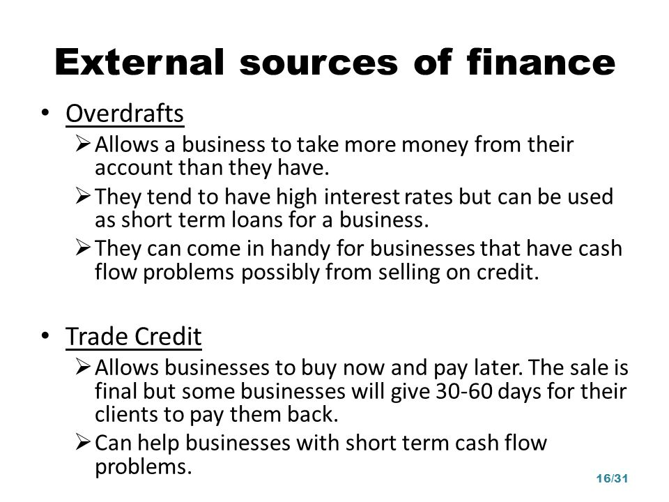 External sources of finance