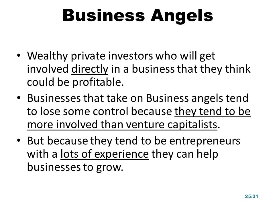 Business Angels Wealthy private investors who will get involved directly in a business that they think could be profitable.
