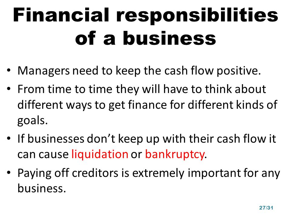 Financial responsibilities of a business