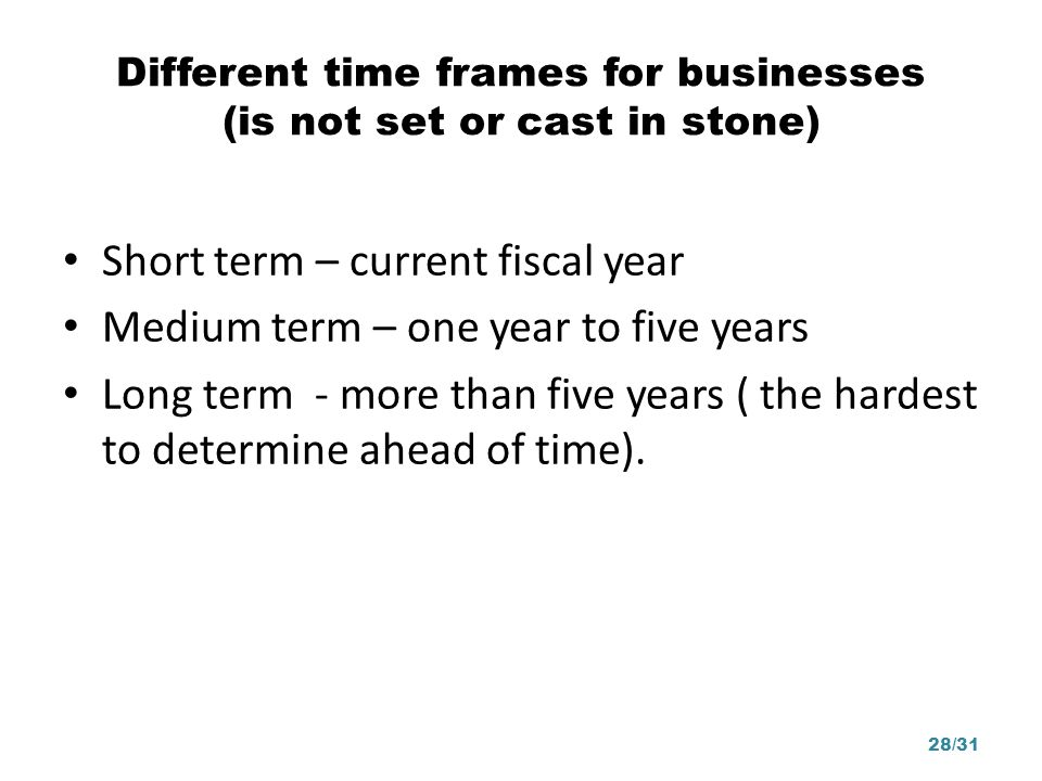 Different time frames for businesses (is not set or cast in stone)