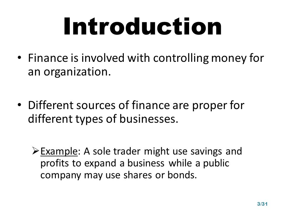 Introduction Finance is involved with controlling money for an organization.