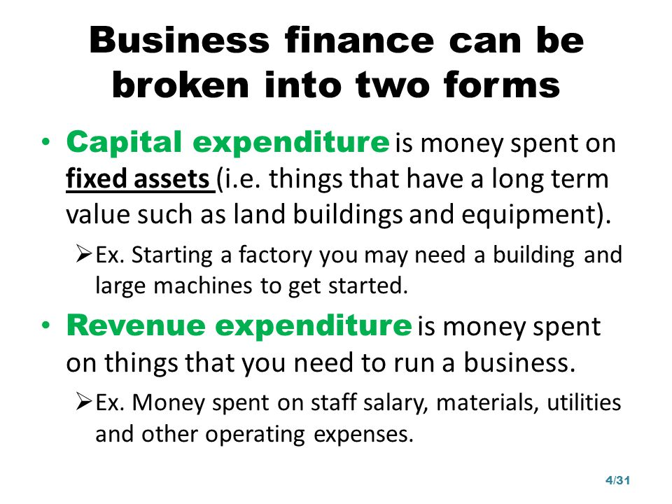Business finance can be broken into two forms