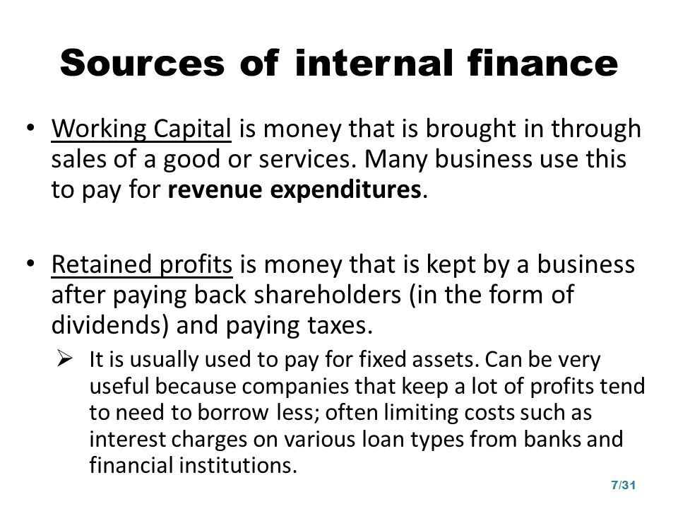 Sources of internal finance