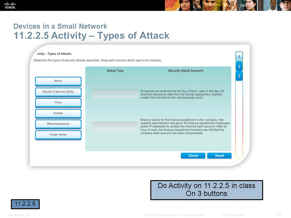 Devices in a Small Network 11.2.2.5 Activity – Types of Attack
