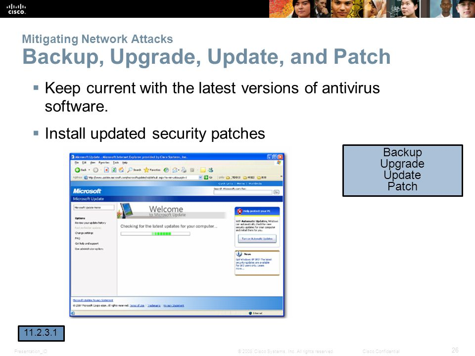 Mitigating Network Attacks Backup, Upgrade, Update, and Patch