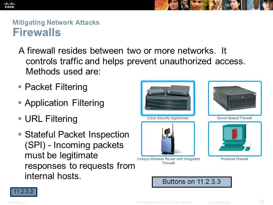 Mitigating Network Attacks Firewalls