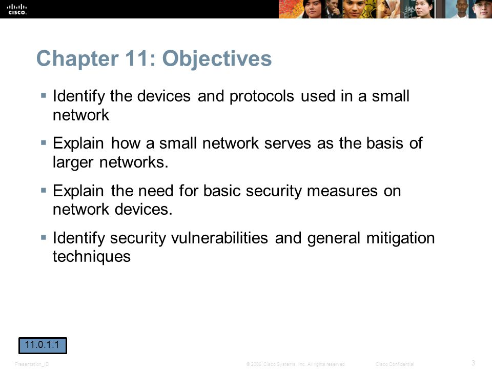 Chapter 11: Objectives Identify the devices and protocols used in a small network.