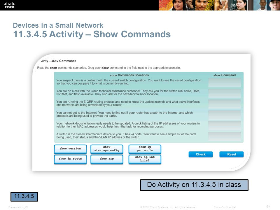 Devices in a Small Network 11.3.4.5 Activity – Show Commands
