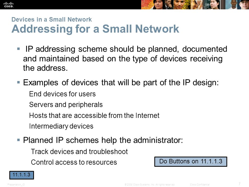 Devices in a Small Network Addressing for a Small Network