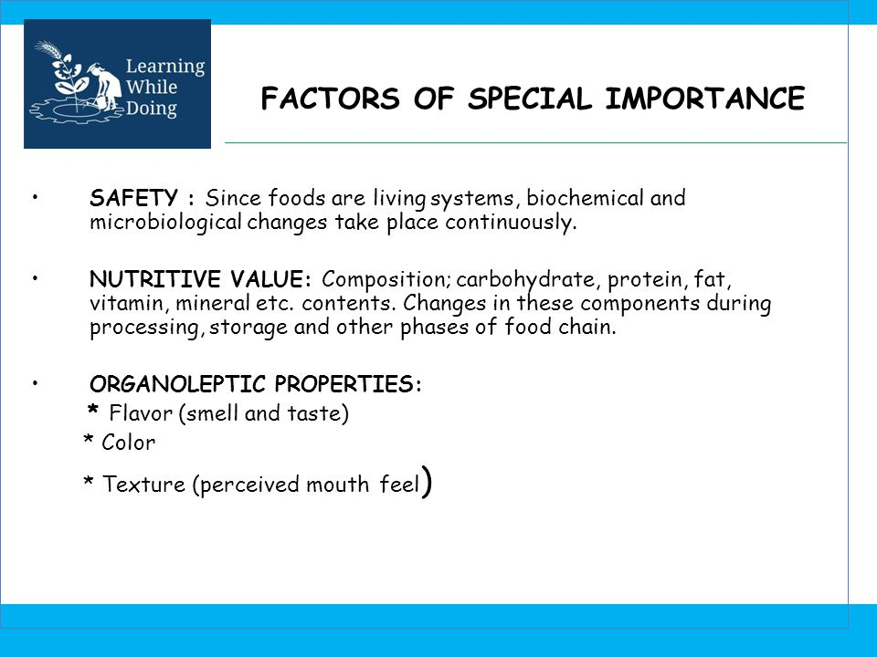 FACTORS OF SPECIAL IMPORTANCE