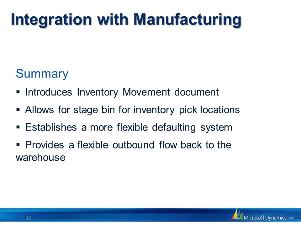 Integration with Manufacturing