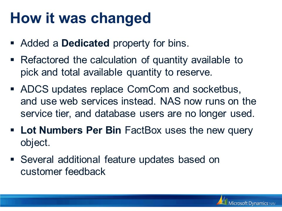How it was changed Added a Dedicated property for bins.