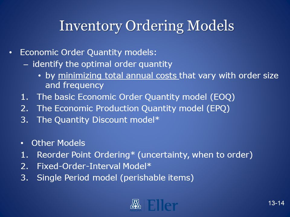 Inventory Ordering Models