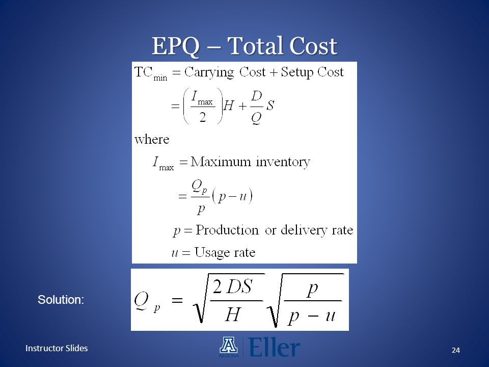 EPQ – Total Cost Solution: Instructor Slides