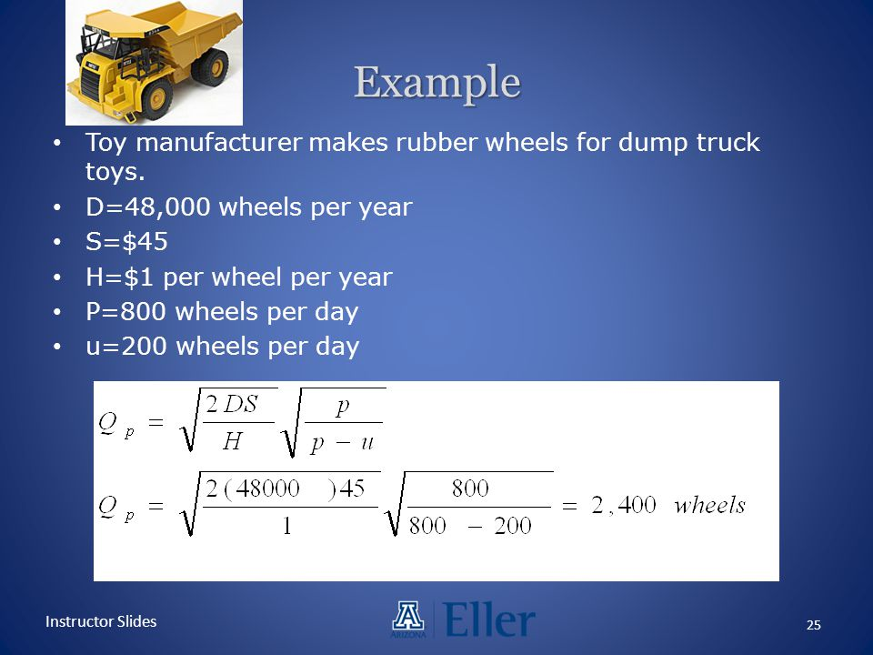 Example Toy manufacturer makes rubber wheels for dump truck toys.