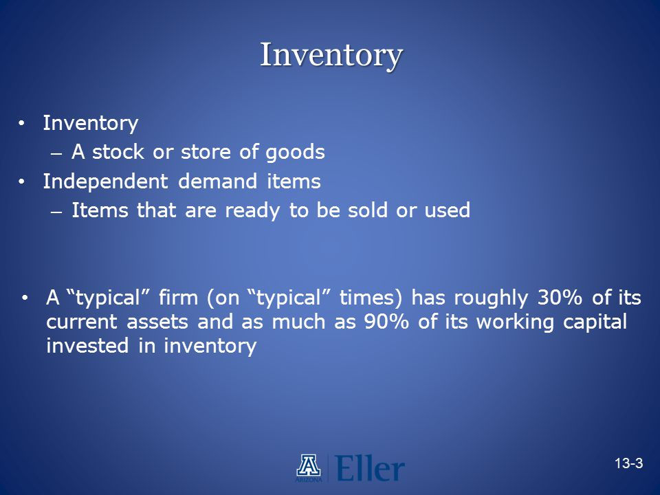 Inventory Inventory A stock or store of goods Independent demand items