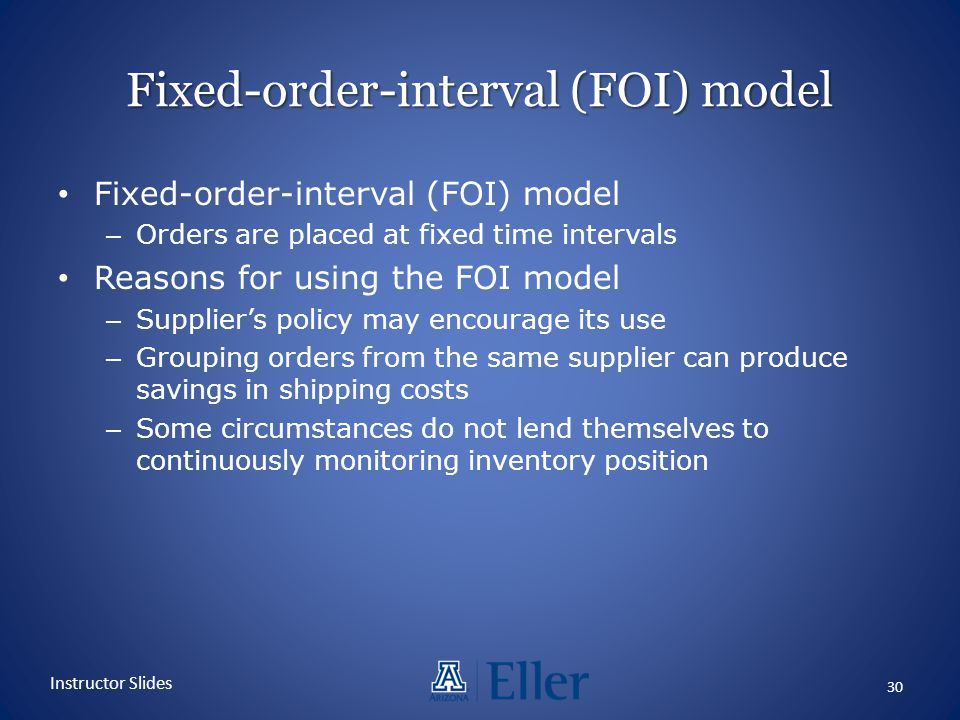 Fixed-order-interval (FOI) model