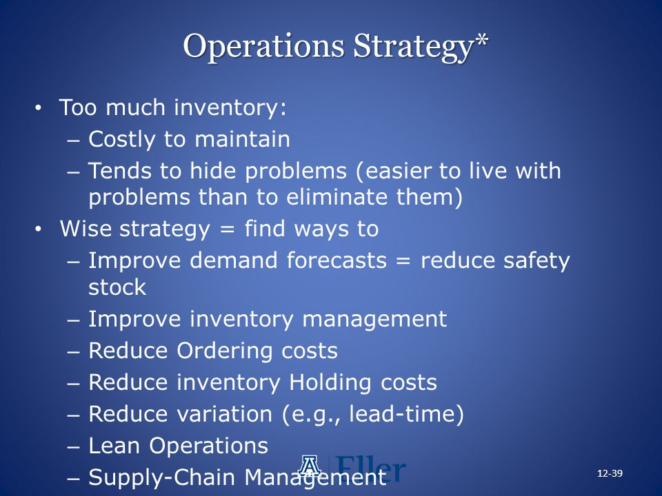 Operations Strategy* Too much inventory: Costly to maintain
