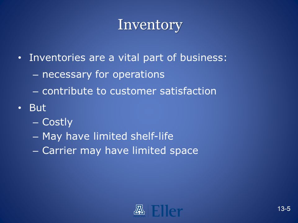 Inventory Inventories are a vital part of business: