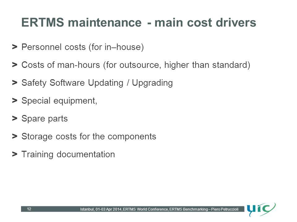 ERTMS maintenance - main cost drivers