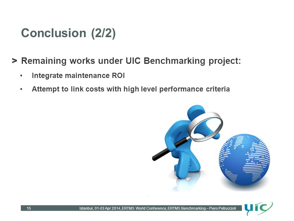 Conclusion (2/2) Remaining works under UIC Benchmarking project: