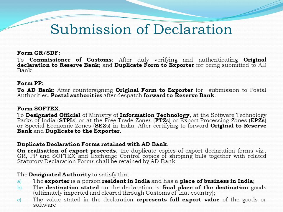 Submission of Declaration