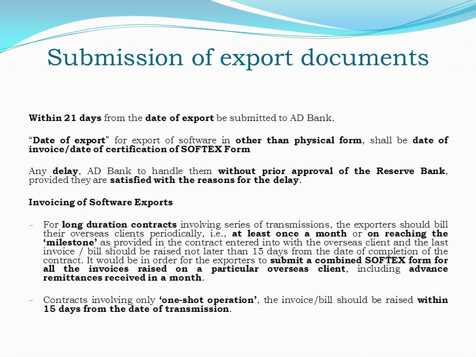Submission of export documents