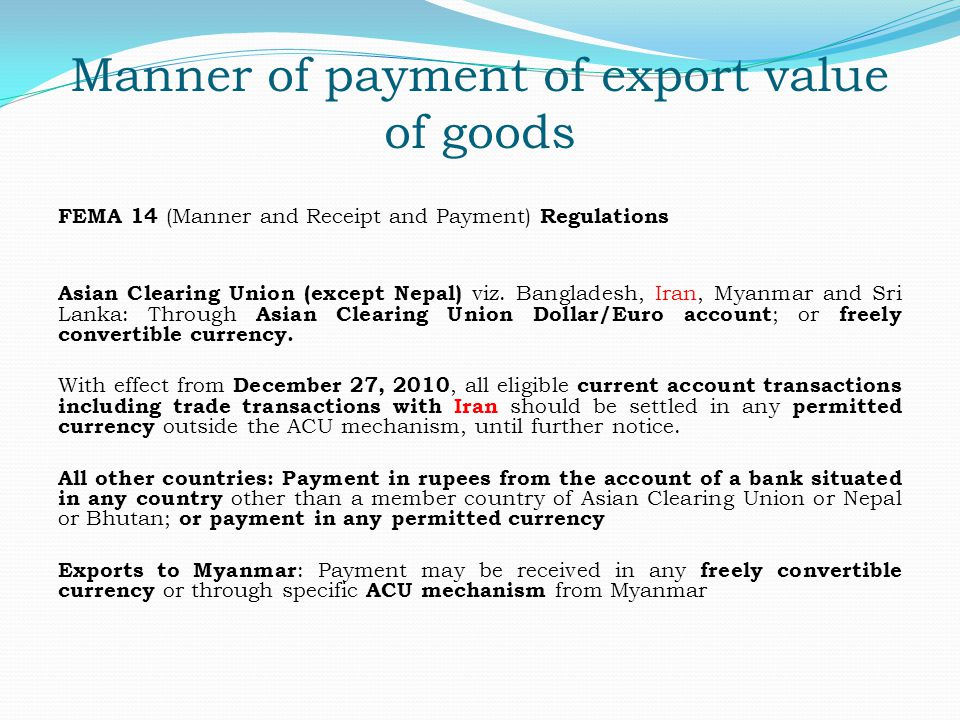 Manner of payment of export value of goods
