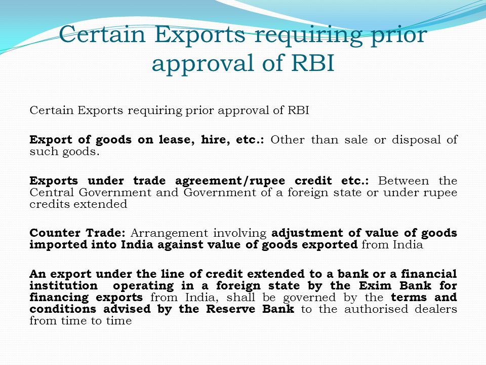 Certain Exports requiring prior approval of RBI