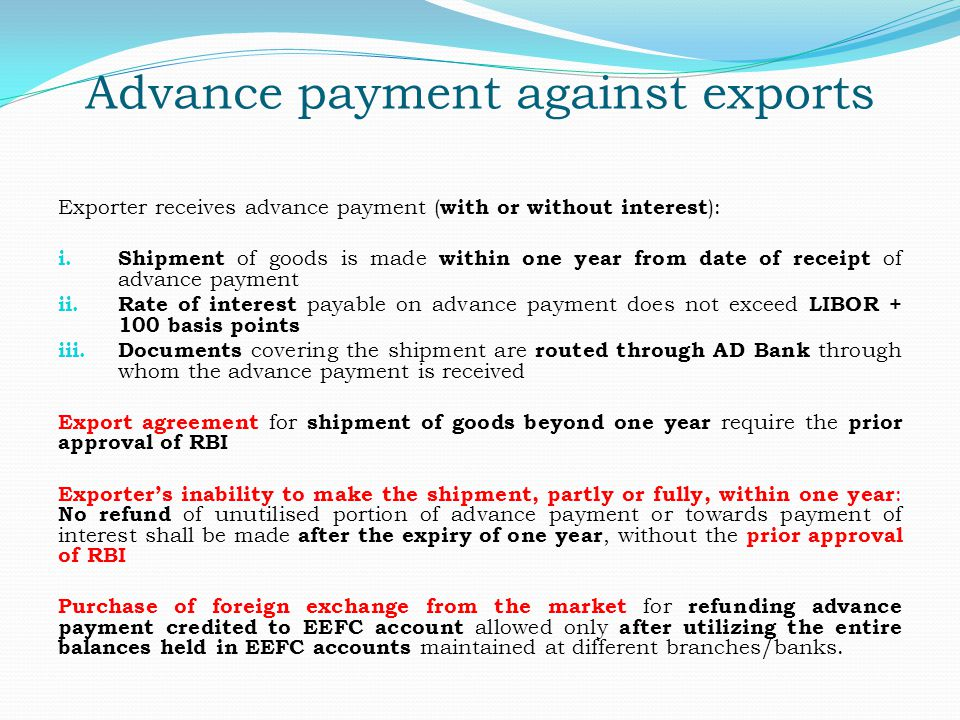 Advance payment against exports