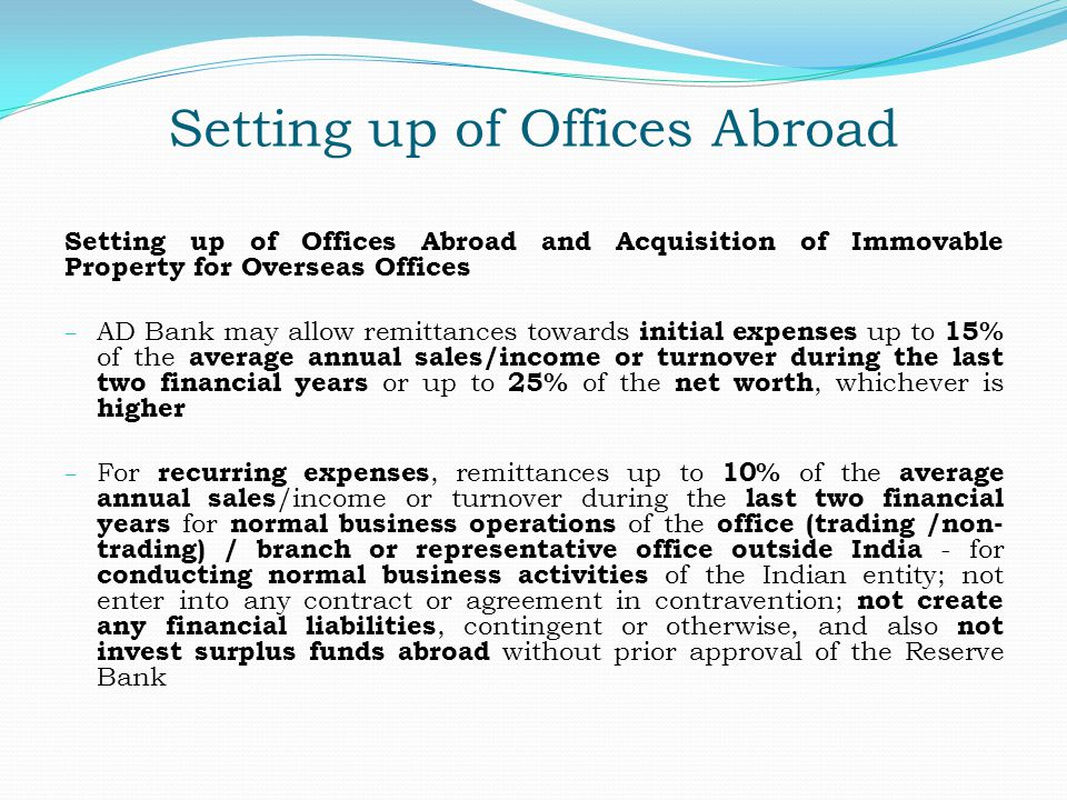 Setting up of Offices Abroad