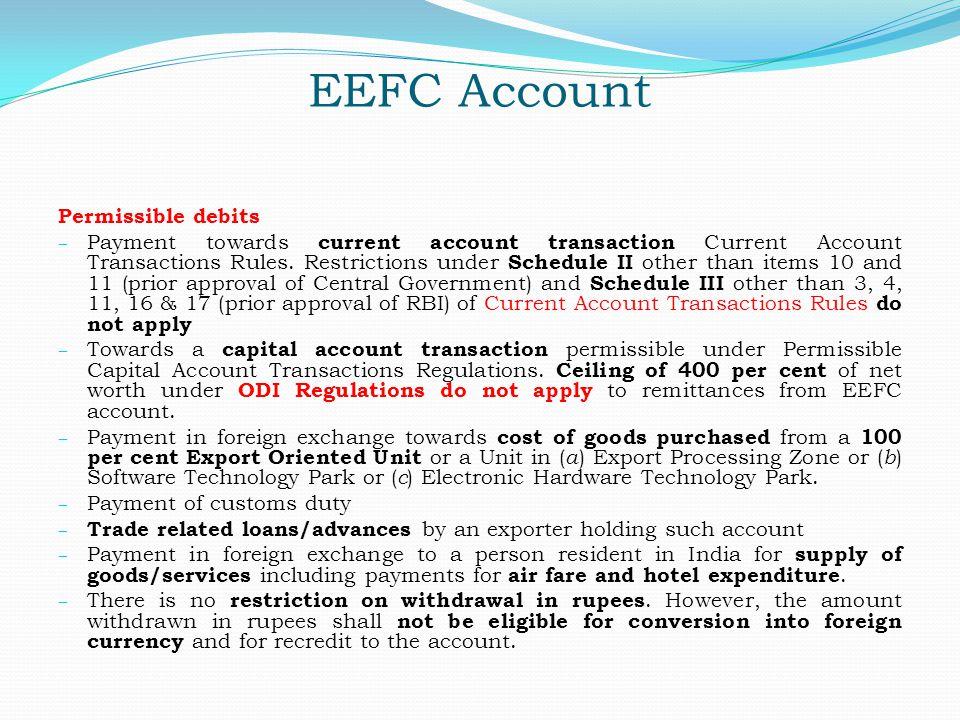 EEFC Account Permissible debits
